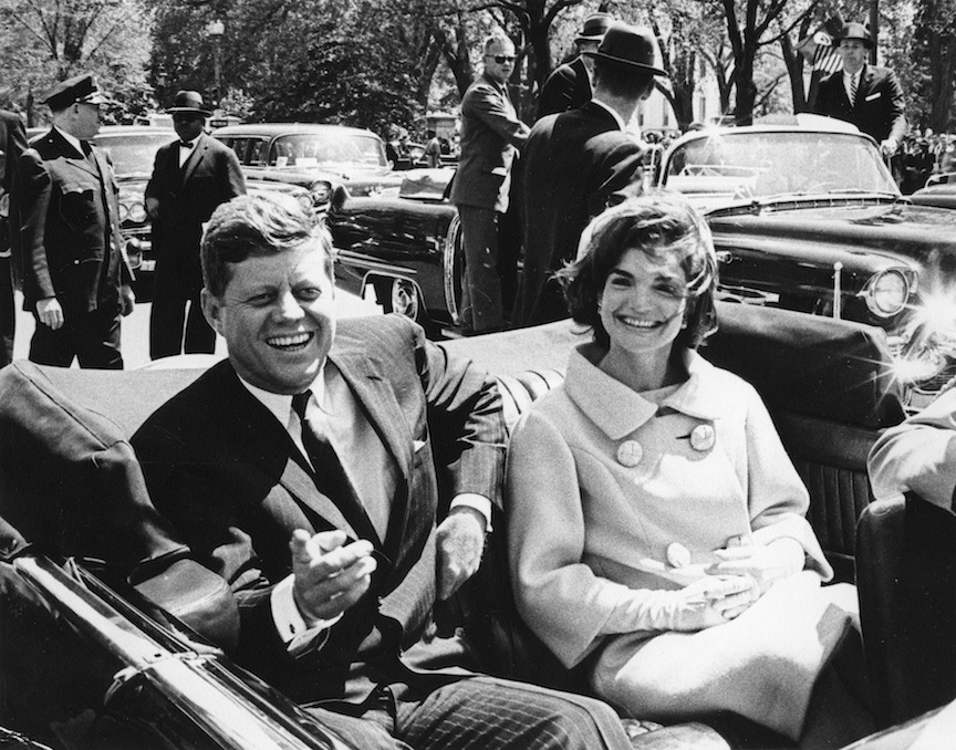 Former United States President John F. Kennedy and first lady Jackie Kennedy sit in a car in front of Blair House during the arrival ceremonies for Habib Bourguiba, president of Tunisia, in Washington, in this handout image taken on May 3, 1961. November 22, 2013 will mark the 50th anniversary of the assassination of President Kennedy. REUTERS/Abbie Rowe/The White House/John F. Kennedy Presidential Library (UNITED STATES - Tags: POLITICS ANNIVERSARY)    ATTENTION EDITORS - THIS IMAGE WAS PROVIDED BY A THIRD PARTY. FOR EDITORIAL USE ONLY. NOT FOR SALE FOR MARKETING OR ADVERTISING CAMPAIGNS. THIS PICTURE IS DISTRIBUTED EXACTLY AS RECEIVED BY REUTERS, AS A SERVICE TO CLIENTS - RTX15FJT