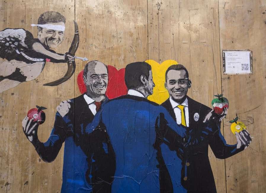 Conte, Zingaretti Di Maio e il putto Renzi su un murale di Tvboy