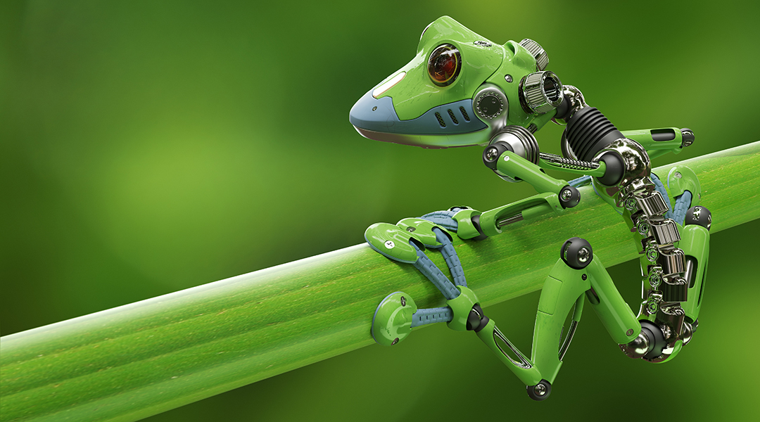3D render of a robot treefrog on a branch
